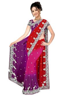 Purple And Red Faux Georgette Saree 15344 With Unstitched Blouse