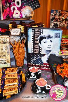 Mesa dulce temática de cine - Old Hollywood dessert table. Movies