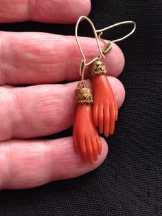 A Stunning Pair Of VICTORIAN Carved Red Coral Earrings carved hands Coral Earrings, Coral Jewelry, Drop Earrings, Ethnic Jewelry, Hand Jewelry, Jewlery, Red Coral, Orange Color, Vintage Jewelry