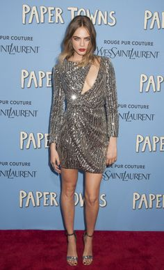 All of Cara Delevingne's 'Paper Towns' Outfits Are INSANELY Good - breathtaking silver metallic Saint Laurent mini dress with a sexy cut-out detail, worn with matching heels and a deep red lip