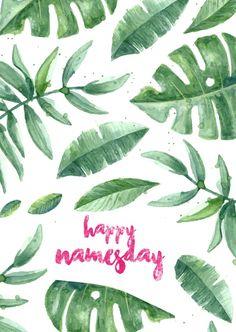 happy namesday mit blättern   Glückwünsche   Echte Postkarten online versenden   MyPostcard.com Design Shop, Happy Name Day, Plant Leaves, Wish, Birthdays, Happy Birthday, Names, Words, Greece
