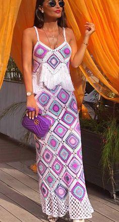 boho crochet maxi dress