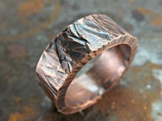 rugged copper ring thick copper ring rustic hammered by CrazyAssJD