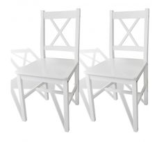 2 Cross Back White Dining Chairs Wooden Kitchen Living Room Home Furniture Seats for sale online White Dinning Chairs, Solid Wood Dining Chairs, Dining Table Chairs, Kitchen Chairs, Upholstered Dining Chairs, Living Room Chairs, Kitchen Furniture, Pallet Furniture, Dining Room