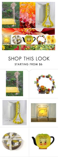 """""""Etsy Yellow"""" by fivefoot1designs ❤ liked on Polyvore featuring interior, interiors, interior design, home, home decor, interior decorating, Giallo, rustic and vintage"""