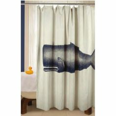 Amazon.com - Shower Curtain for Bathroom Decor Cotton Fabric with Whale Design by Thomas Paul -