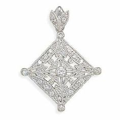 Vintage Filigree Antique Look Diamond Shape Pendant with Sparkling Cubic Zirconia Stones AzureBella Jewelry. $31.40. Vintage chic antique look. Sparkling cubic zirconia. Jewelry gift box included. .925 sterling silver plated with hard-wearing rhodium - same as white gold
