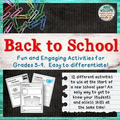 Back to School Activities / Beginning of the Year Activities -12 engaging and educational literacy activities for Back to School with your middle or high school students.  Get to know your students' personalities and get a sense of their writing skills at the same time.
