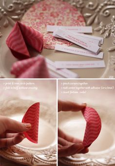 Christmas/New Year's/Thanksgiving/Valentine's Day idea. DIY Paper Fortune Cookies. There are printouts. Very sweet idea/ More info here.