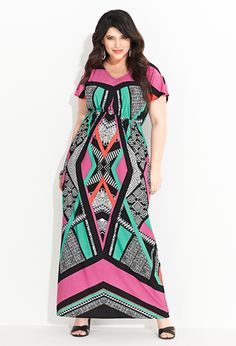 Plus Size Geo Print Maxi Dress. A maxi dress? With sleeves! Be still my beating heart.