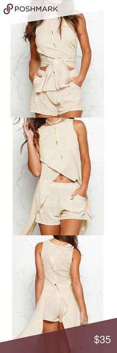 Cross Wrap Asymmetric Sleeveless Top With Shorts NEW NEVER WORE  ,Still in package .Cross Wrap Asymmetric Sleeveless Top With Shorts -BEIGE. Shoulder:32cm, Bust:98cm, Waist Size:78cm, Hip Size:98cm, Shorts Length:37cm, Top Length:44/102 Other