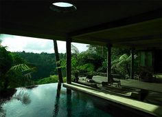 Remember when I said that a reflecting pool is what takes a beautiful home exterior shot to another level of beauty? Much of it captures homes with water features, and all of it is wall art . Tropical Architecture, Architecture Photo, Beautiful Architecture, Outdoor Spaces, Indoor Outdoor, Outdoor Living, Piscina Spa, Le Havre, To Infinity And Beyond