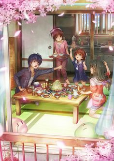 Tomoya, Nagisa, Ushio and Fuko (Clannad After Story)