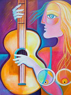 She and Her Guitar - Marlina Vera Fine Art Gallery