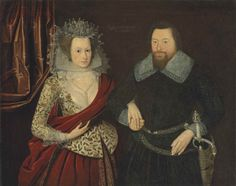 Circle of William Larkin. 17 c. Double portrait of a lady in an embroidered bodice (waistcoat) with a red petticoat and mantle and a gentleman in black with an elaborate sword with a cameo of St George