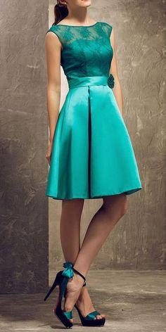 A-line Bateau Knee-length Lace And Satin Bridesmaid Dress