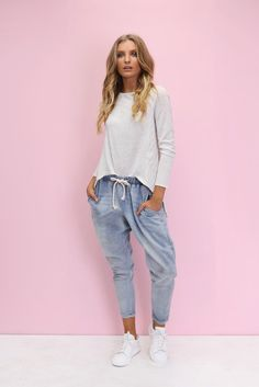 Madison Square Clothing - Clear Skies Dropcrotch Joggers - Denim [Pre Order]