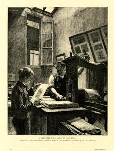 The printer Liénard and his son in his workshop; Liénard gazes at his son while working the printing press at right; his son looks at a finished print, holding it in his hands; on the worktable, piles of sheets; on the walls, framed prints;  beyond, an open window and a skylight just seen; after a charcoal drawing by Lhermitte; from the publication 'L'Art' (1882).  1882.