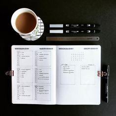 Bullet journal weekly layout, minimalist bullet journal layout. @supermassiveblackink