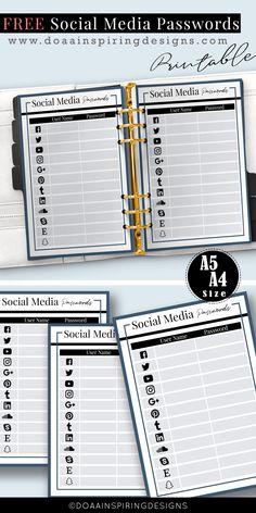 Password Keeper printable free , Free social media password keeper printable, free inserts, free printable planner, Password log, password tracker printable, password organizer
