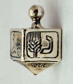 #Judaica #Dreidel Sterling #Silver Electroforming Cube #Engraved #Wheat #Design