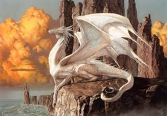 """dailydragons: """"Hobsyllwin, The White Guardian by Ciruelo Cabral (website) """""""