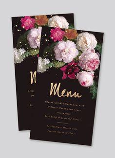 moody classic floral gold foil menu — Designspiration