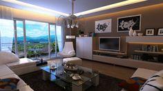 une peinture taupe sombre dans une salle de séjour spacieuse, plafonnier sophistiqué et table en verre