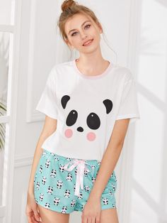 Panda Print Top And Shorts PJ Set Pj Sets 2057b3cfc