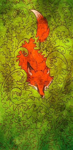 Fox and Ferns Art Print by featherwurm Fantastic Fox, Fabulous Fox, Fox Spirit, Spirit Animal, Fuchs Illustration, Fox Art, Woodland Creatures, Ferns, Images