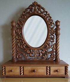 Зеркала ручной работы. Ярмарка Мастеров - ручная работа. Купить Туалетный столик с зеркалом из натурального дерева Ажур. Handmade.