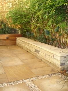 bamboo and pavers.. and a nice touch of wood to soften the space