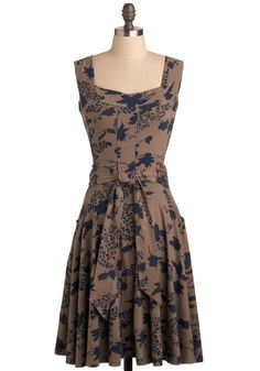 Guest of Honor Dress by Effie's Heart - Brown, Blue, Floral, Bows, Pockets, Party, Work, Casual, A-line, Sleeveless, Tank top (2 thick straps), Show On Featured Sale, Long