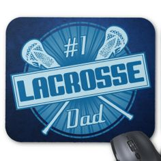 #1 Lacrosse Dad Mousepad Mousemat. Cool, blue retro style design with crossed #lacrosse sticks. Neat birthday or father's day gift idea for your #lax dad! Priced at $12.95.