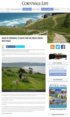 Cornwall Life- September 2014. Go to www.southwestcoastpath.org.uk to book your place.