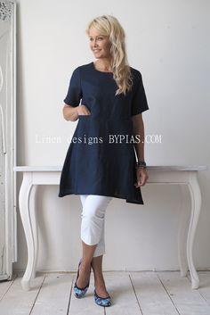 TIMELESS Linen Tunic, Navy - BYPIAS Linen Tunics - BYPIAS More