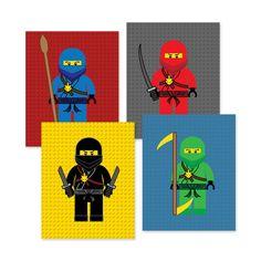 ninja go bedroom wall art prints, ninja bedroom wall decor, 4 (8x10) inch high quality prints shipped to your door, color backgrounds