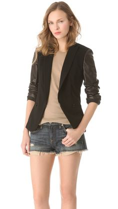 lovin this rag & bone blazer with leather sleeves