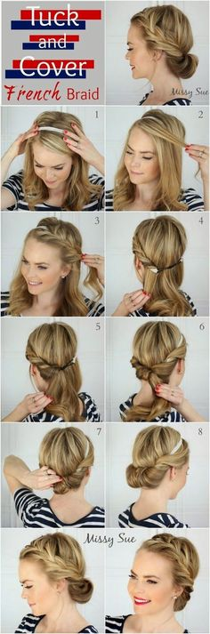 Tuck and Cover French Braid - I think even I might be able t.-Tuck and Cover French Braid – I think even I might be able to pull this one off…. Tuck and Cover French Braid – I think even I might be able to pull this one off. Summer Hairstyles, Up Hairstyles, Pretty Hairstyles, Wedding Hairstyles, French Hairstyles, Braided Hairstyles, Braided Updo, Headband Hairstyles, Easy Hairstyles For Work