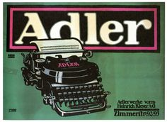 Vintage Poster Art Nouveau - Adler Typewriters (1909)