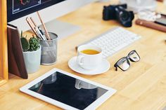 Digital camera with empty screen, cup of coffee, glasses and pot with. Blank Photo, Digital Camera, Office Desk, Coffee Cups, Entrepreneur, Stock Photos, Tableware, Image, Desk Office