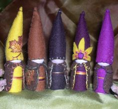 1st Autumnal Gnomes ©2007 set of 5 by Painting Pixie Studio