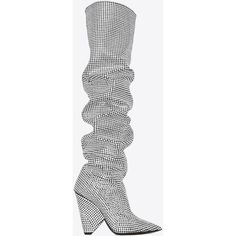 NIKI 105 thigh-high boot with all-over embroidered white crystals ($9,565) ❤ liked on Polyvore featuring shoes, boots, yves saint laurent, yves saint laurent boots, scrunch boots, embroidered boots, white thigh high boots and white thigh boots