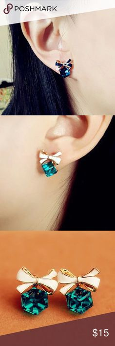 Adorable Earrings Cubic Crystal Stud Earrings ! So adorable ! Green and blue color. Jewelry Earrings