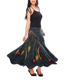 Take a look at this Black Embroidered Maxi Skirt - Women by Rising International on #zulily today!