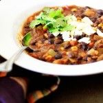 This vegetarian Black Bean and Sweet Potato Chili was a hit with my family. Be generous with the cilantro, and serve with a dollop of sour cream and a few crumbled corn chips.