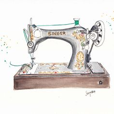 Vintage Singer Sewing Machine Art Print by Artisania - X-Small Sewing Art, Sewing Rooms, Sewing Crafts, Sewing Projects, Sewing Spaces, Machine Logo, Vintage Sewing Machines, Jolie Photo, Machine Design