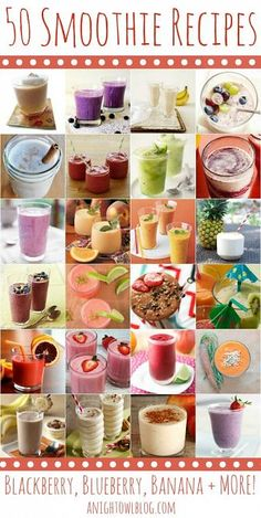 50 Fabulous Smoothie Recipes - Need more fruits and veggies in your diet? These 50 smoothie recipes are a delicious and healthy way to keep you on track! Smoothie Bol, Smoothie Drinks, Healthy Smoothies, Healthy Drinks, Healthy Snacks, Healthy Eating, Healthy Recipes, Vegetable Smoothies, Healthy Liver