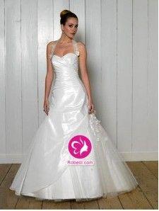 A-ligne Dos nu Traîne mi-longue Robe de mariée en Taffetas avec Fleurs manuelles Ruché(FR003031)