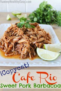 Copycat Cafe Rio Sweet Pulled Pork {Crock Pot} Sweet & tangy pulled pork cooked in the crock pot, shredded and used for tacos, burritos, salads, etc.
